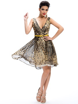 Sensual Deep V-Neck Leopard Print A-Line Sashes Short Cocktail/Party Dress & Formal Dresses for less