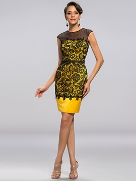 Delicate Column Lace Sash Short Party Dress Designed & Formal Dresses 2012