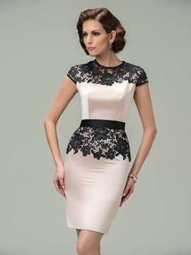 Sheath Jewel Neck Cap Sleeves Lace Short Formal Dress Designed & affordable Formal Dresses