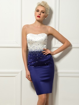 Elegant Sheath Sheer Neck Beading Short Formal Dress Designed & Formal Dresses under 100