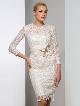 Hot Sale 3/4-Length Sleeves Column Knee-Length Lace Cocktail Dress