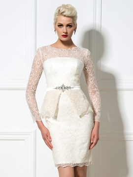 Amazing Round Neck Long Sleeves Sheath Short Lace Cocktail Dress & Formal Dresses for less