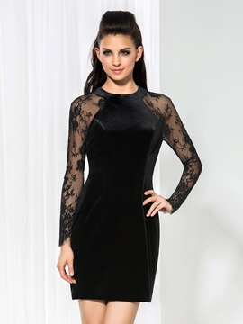 Vintage Jewel Neck Long Sleeves Lace Little Black Dress & Formal Dresses under 300