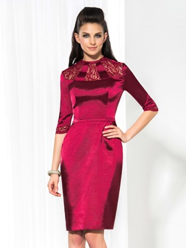 Vintage Jewel Neck Half Sleeves Sheath Lace Knee-Length Formal Dress & Formal Dresses from china