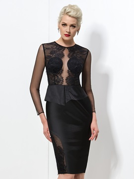 Sexy Column Jewel Neck Long Sleeve Knee-Length Black Lace Formal Dress & Formal Dresses under 100