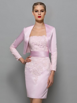 Glamorous Strapless Appliques Sheath Office Dress With Jacket/Shawl & simple Formal Dresses