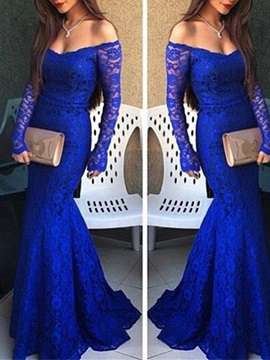 Off-the-Shoulder Mermaid Lace Evening Dress