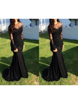 Long Sleeves Lace Applique Beaded Mermaid Evening Gowns