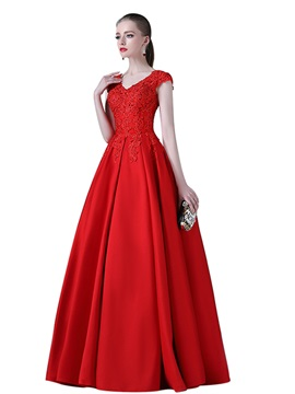 Simple A-Line Cap Sleeves Appliques V-Neck Evening Dress