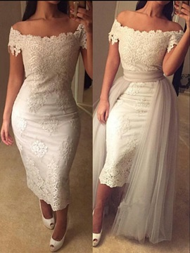 Individual Sheath Off-the-Shoulder Cap Sleeves Appliques Lace Tea-Length Evening Dress & romantic Formal Dresses