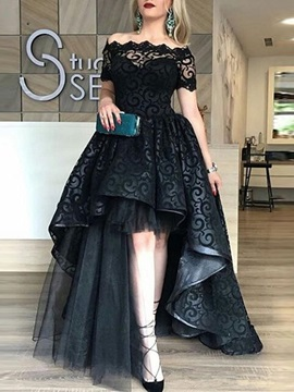 Attractive A-Line Lace Off-the-Shoulder Short Sleeves Sweep Train Evening Dress