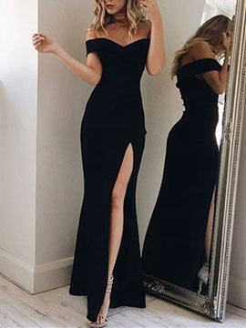 Modern Off-the-Shoulder Mermaid Short Sleeves Split-Front Floor-Length Evening Dress