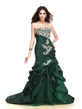 Glamorous Sweetheart Mermaid Pick-ups Appliques Taline's Long Evening Dress & vintage style Formal Dresses