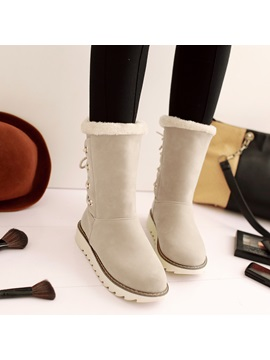 Suede Lace-Up Back Snow Boots