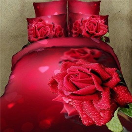 Romantic Rose Heart Print Pure Cotton 4-Piece Wedding Bedding Sets