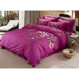 Luxury Purple Cotton Active Printing Peony 4 Pieces Comforter Bedding Sets