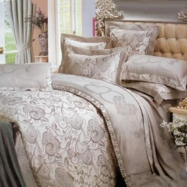 Elegant Jacquard Grey Floral Drill 4 Pieces Comforters Bedding Sets