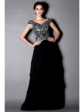 Marvelous Beaded/Sequins Tiered A-Line Off-the-Shoulder Floor-Length Taline's Mother of the Bride Dress & Mother of the Bride Dresses under 300