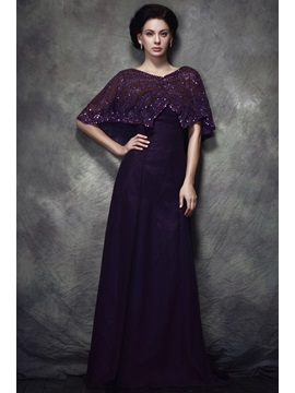 Graceful Lace Sequins Empire Waist V-Neck Floor-Length Polina's Mother of Bride Dress & fashion Mother of the Bride Dresses