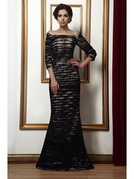 Elegant Beading Trumpet Off-the-Shoulder 3/4-Length Sleeves Taline's Mother of the Bride Dress & Mother of the Bride Dresses under 300