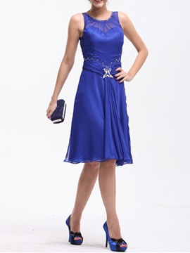 A-Line Scoop Knee-Length Sleeveless Mother Dress & affordable Mother of the Bride Dresses