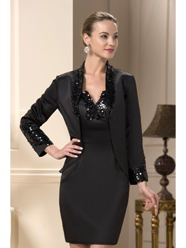 Sequin Beaded V-Neck Sheath Short Mother of the Bride Dress With Jacket/Shawl & vintage style Mother of the Bride Dresses