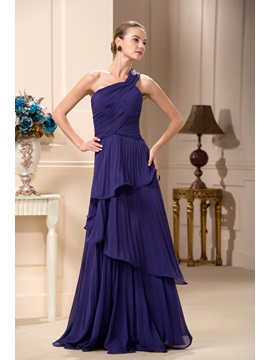 Tiered A-Line One-Shoulder Floor-Length Mother of the Bride Dress & Mother of the Bride Dresses for less