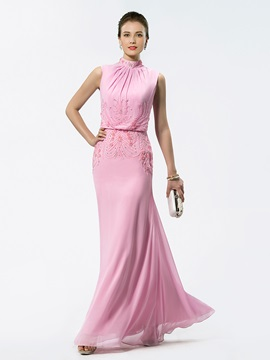 High Neck Beaded Mother of the Bride Dress