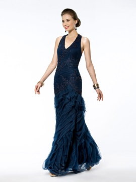 Trumpet/Mermaid Floor-Length Halter Appliques Zipper-up Evening Dress & colored Mother of the Bride Dresses