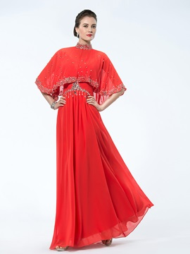 A-Line High-Neck Beading Enchanting Mother Dress
