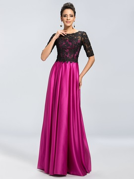 Eye-catching Sheer Black Lace Scoop Neck Short Sleeve Mother of the Bride Dress & Mother of the Bride Dresses for less