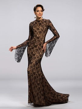 Vintage Hollow Out Sheath Long Sleeves Lace Mother of the Bride Dress Designed & informal Mother of the Bride Dresses