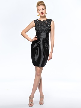 Classical Sleeveless Sheath Short Black Mother Of The Bride Dress & informal Mother of the Bride Dresses