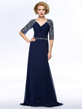 Vogue Beaded V-Neck Ruched Chiffon Blue Long Mother of the Bride Dress with Sleeves & Mother of the Bride Dresses for sale