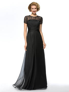 Lace Jewel Neck Short Sleeves Chiffon Black Long Mother of the Bride Dress & modern Mother of the Bride Dresses