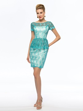 Cheap Blue Short Lace Mother of the Bride Dress Petite & Mother of the Bride Dresses on sale