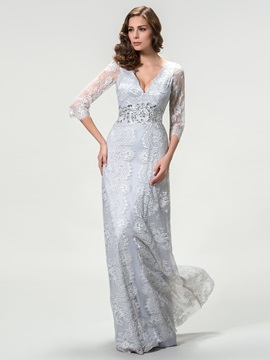 Timeless V-Neck Lace Long Sleeve Mother of the Bride Dress & colored Mother of the Bride Dresses