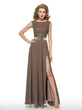 Fashionable Beaded Split-Front Long Mother of the Bride Dress & simple Mother of the Bride Dresses