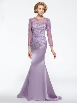 Mermaid Sweep Train Sequin Beaded Long Sleeve Mother of the Bride Dress & Mother of the Bride Dresses online