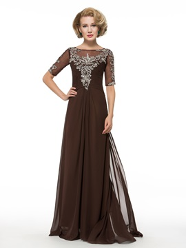 Beading Sequins Floor-Length Chiffon Half Sleeve Mother of the Bride Dress & Mother of the Bride Dresses on sale