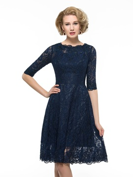 Knee Length Half Sleeve A-Line Lace Mother Of The Bride Dress & romantic Mother of the Bride Dresses
