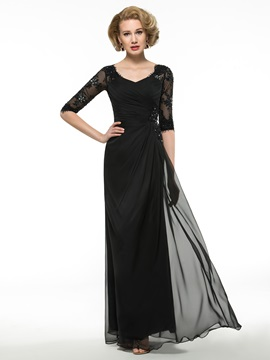 Ruched V-Neck Lace Half Sleeve Buttons Zip-up Black Mother of the Bride Dress & romantic Mother of the Bride Dresses