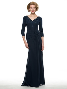 Beaded V-Neck 3/4 Sleeve Sheath Long Chiffon Mother Dress
