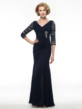 Cheap V-Neck 3/4 Sleeves Mermaid Mother of the Bride Dress & romantic Mother of the Bride Dresses