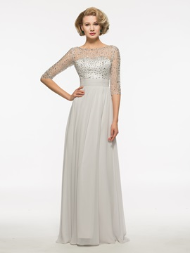 Bateau Half Sleeves A Line Long Mother Of The Bride Dress & Mother of the Bride Dresses under 500