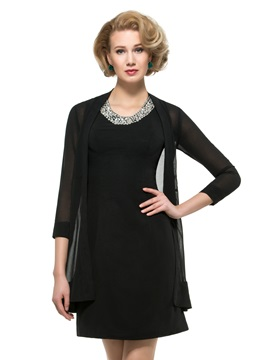 Beaded Jewel Neck Black Mini Mother of the Bride Dress with Jacket & Mother of the Bride Dresses 2012