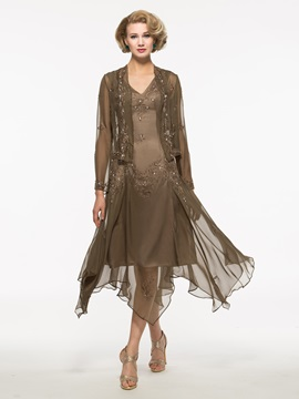 Appliques High Low Mother of the Bride Dress with Jacket