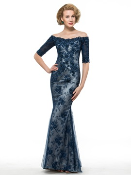Mermaid Dark Navy Lace Off the Shoulder Mother of the Bride Dress & Mother of the Bride Dresses under 500