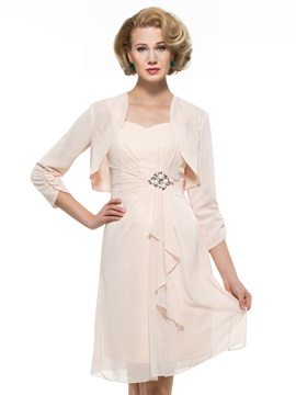 Straps Sweetheart Beading Knee-Length Column Mother of the Bride Dress with Jacket & Mother of the Bride Dresses under 300