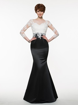 Bateau Lace Appliques Mermaid Mother of the Bride Dress